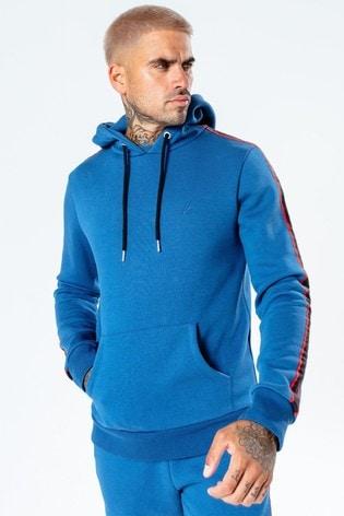 Hype. Mens Blue Sport Tape Pullover Hoodie