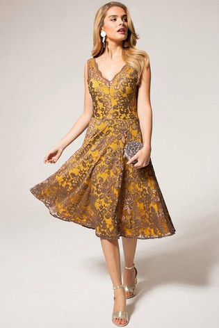 HotSquash Mustard V-Neck Floral Lace Dress