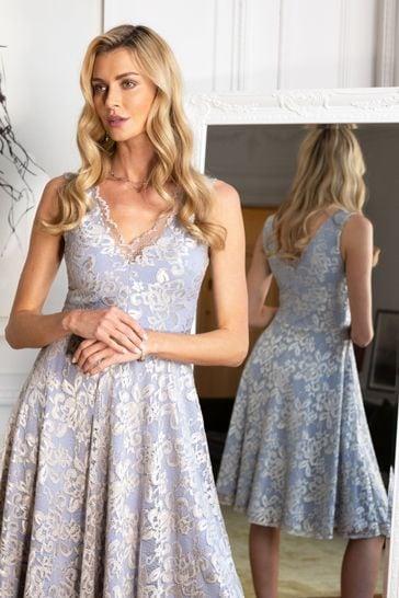 HotSquash Silver V-Neck Floral Lace Dress