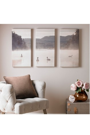Set of 3 Swan Lakeside Canvas by Art For The Home