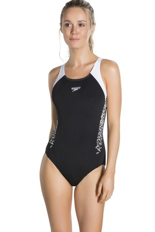 Speedo® Black And White Splice Muscleback Swimsuit