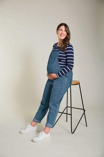 Frugi GOTS Organic Maternity To Breastfeeding Chambray Dungarees