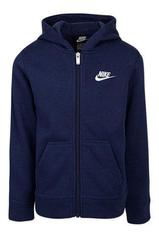 Nike Little Kids Navy Fleece Zip Through Hoodie