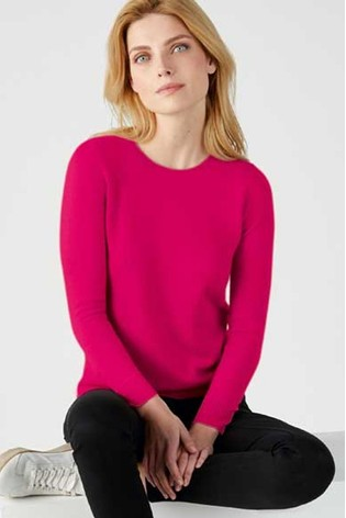 Pure Collection Pink Cashmere Straight Fit Crew Neck Sweater