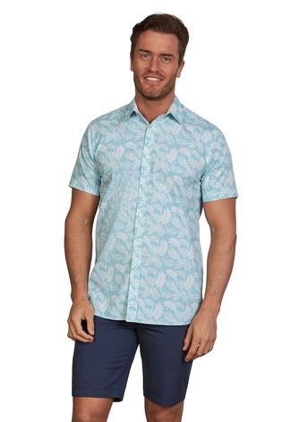 Raging Bull Sea Blue Short Sleeve Palm Print Shirt
