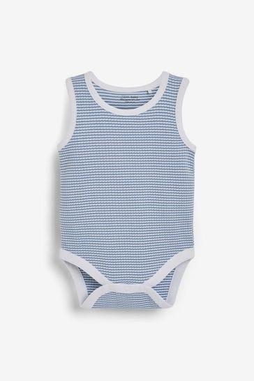 Blue 3 Pack Rib Vest Bodysuits (0mths-3yrs)