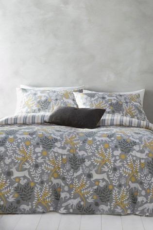 Riva Home Exclusive To Next Grey Brushed Cotton Flannel Winter Stag Duvet Cover and Pillowcase Set