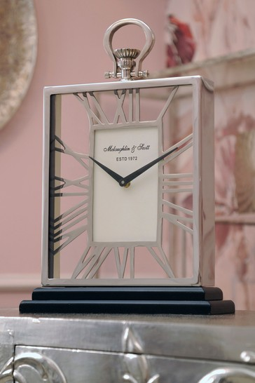 Libra Silver And Black Skeletal Mantel Clock