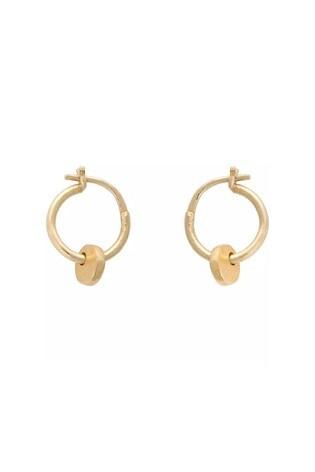 Oliver Bonas Gold Plated Brass Elsa Drop Hoop Earrings