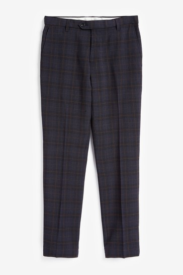Navy/Rust Slim Fit Check Slim Fit Trousers