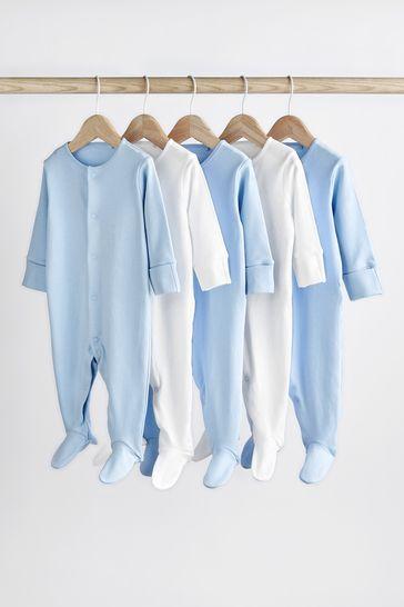Blue/White 5 Pack Essentials Sleepsuits (0-12mths)