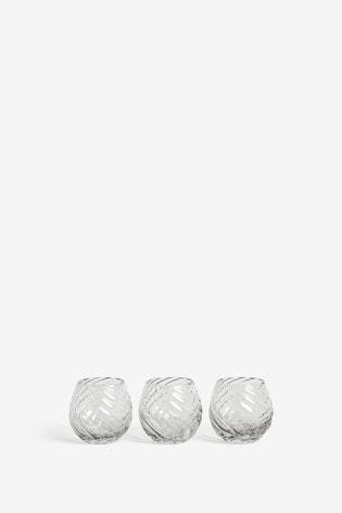 Set of 3 Optic Glass Tealight Holders