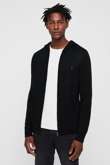 AllSaints Black Merino Zip Through Hoodie