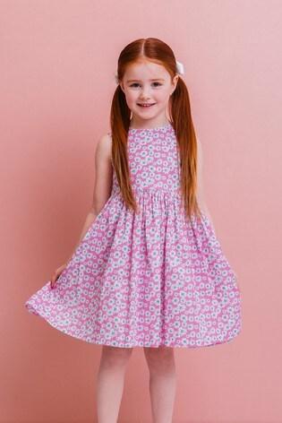 Trotters London Pink Daisy Ric Rac Dress