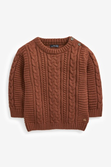 Brown Cable Crew Jumper (3mths-7yrs)