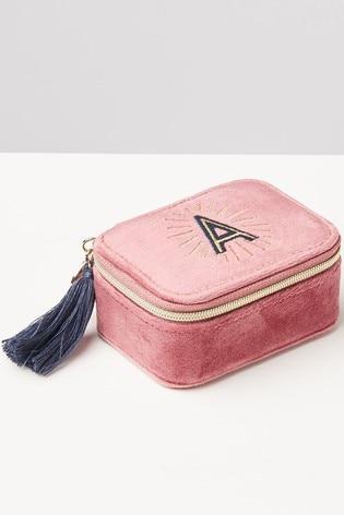 Oliver Bonas Sol Pink Velvet Alphabet A Travel Jewellery Box