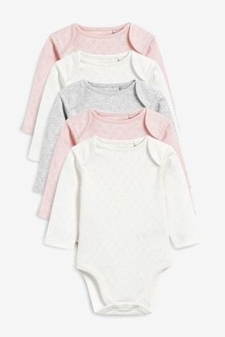 Ecru/Pink/Grey 5 Pack Pointelle Long Sleeve Bodysuits (0mths-3yrs)