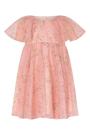 Monsoon Pink Baby Floral Pleated Chiffon Dress