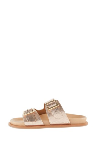 Monsoon Gold Metallic Buckle Sandals