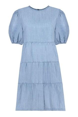 F&F Puff Sleeve Denim Mini Dress