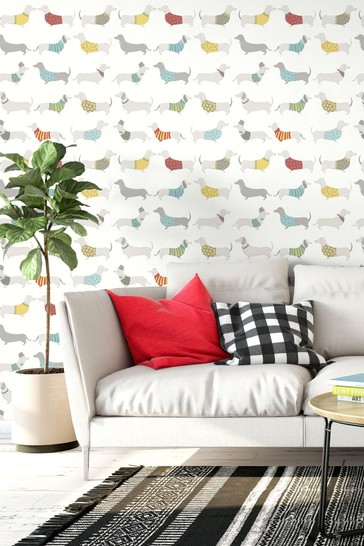 Catherine Lansfield Yellow Silly Sausage Dog Wallpaper