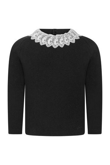 Girls Black Cotton & Wool Knitted Jumper