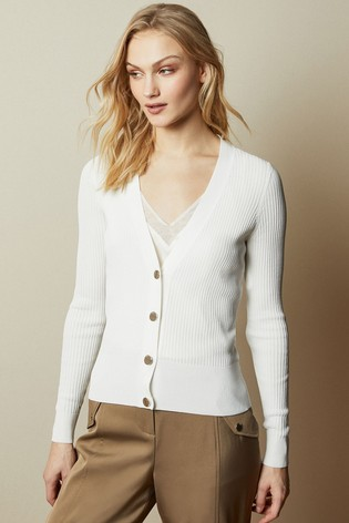 Ted Baker Cream Raeyaa Button Front V-Neck Cardigan