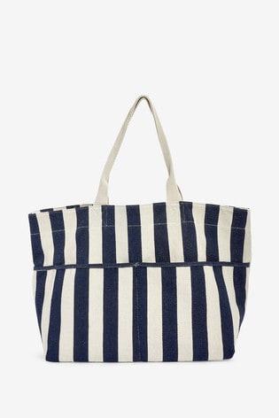 Accessorize Navy Woven Stripe Tote Bag