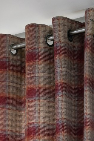 Tweedy Cranford Check Eyelet Curtains Fabric Sample