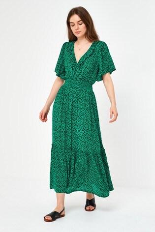 Green Spot Ruffle Wrap Dress