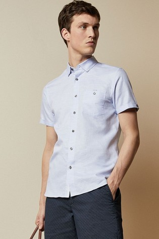 Ted Baker Havefun Short Sleeve Linen Mix Shirt