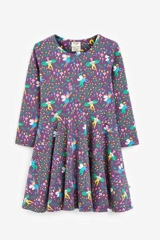 Frugi Purple Organic Cotton Full Skirt Skater Dress