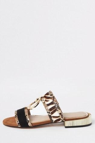 River Island Black Nicki Ring Flat Sandals