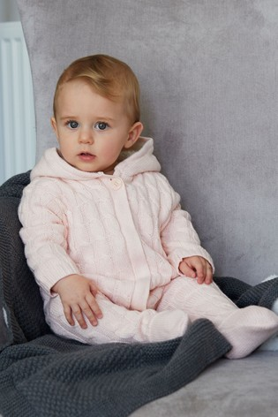 The Little Tailor Pink Baby Knitted Pramsuit