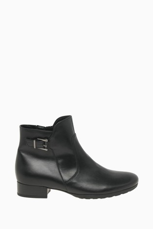 Gabor Bolan Black Leather Fashion Ankle Boots