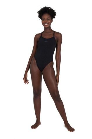 Speedo Black Solid Turnback Swimsuit