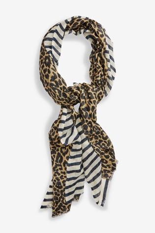 Mix/Rose And Rose Stripe Animal Scarf