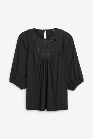 Black Broderie Detail Top