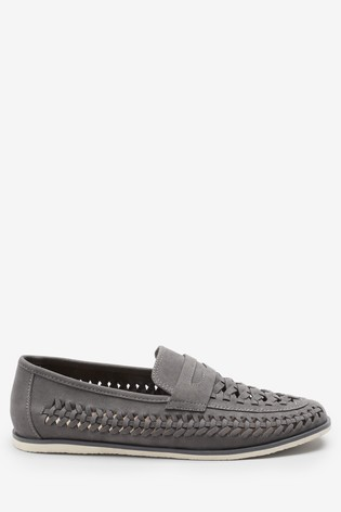 Grey Weave Loafers