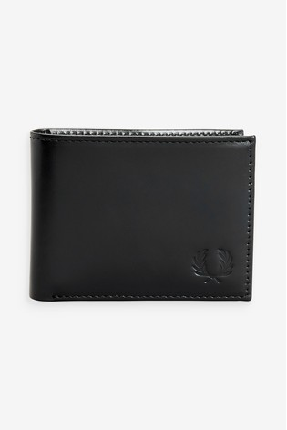 Fred Perry Black Leather Billfold Wallet