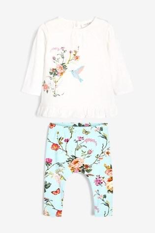 Teal/Ecru Floral Three Piece Set (0mths-2yrs)