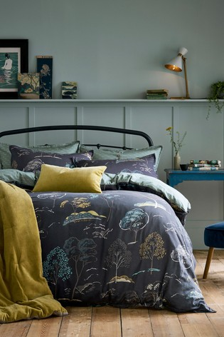Dot & Ivy Forest Blue Trees Print Cotton Duvet Cover and Pillowcase Set