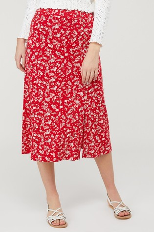 Monsoon Red Natty Ditsy Print Skirt