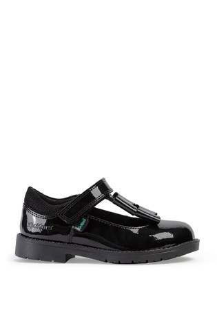 Kickers® Black Lachly Patent Bow Strap Shoe
