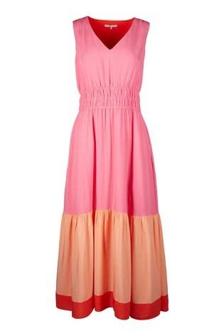 buy oliver bonas pink colourblock midi dress from the next