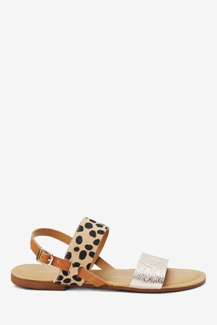 Animal/Gold Forever Comfort® Two Band Slingback Sandals