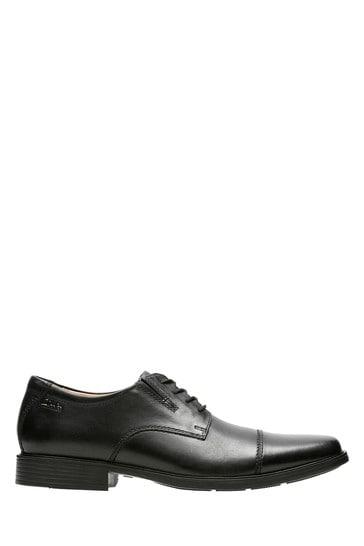 Clarks Wide Fit Black Tilden Cap Shoe