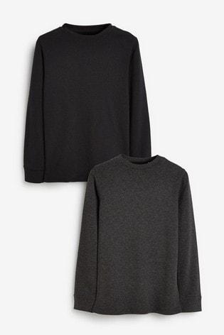 Black/Grey 2 Pack Long Sleeve Thermal Tops (2-16yrs)