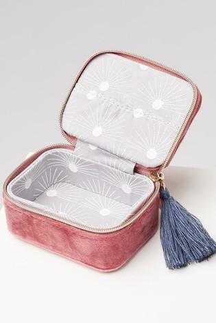 Oliver Bonas Sol Pink Velvet Alphabet B Travel Jewellery Box