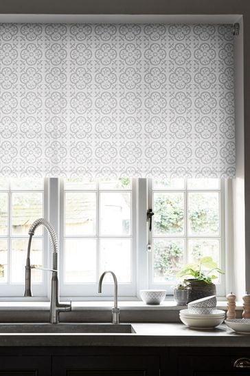 Geo Tile White/Grey Print Blackout Roller Blind